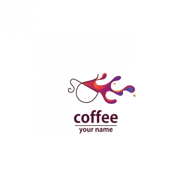Logo Kawiarni Fala Streszczenie Kolorowy Premium Wektorów