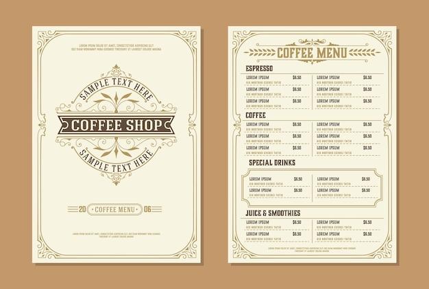 Logo Kawiarni Z Szablonem Broszury Menu Kawy. Zabytkowe Elementy Dekoracji Typograficznych. Premium Wektorów