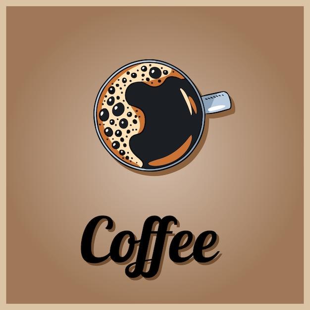 Logo Kawy. Kubek Kawy. Ręcznie Rysowane Stylu Cartoon Premium Wektorów