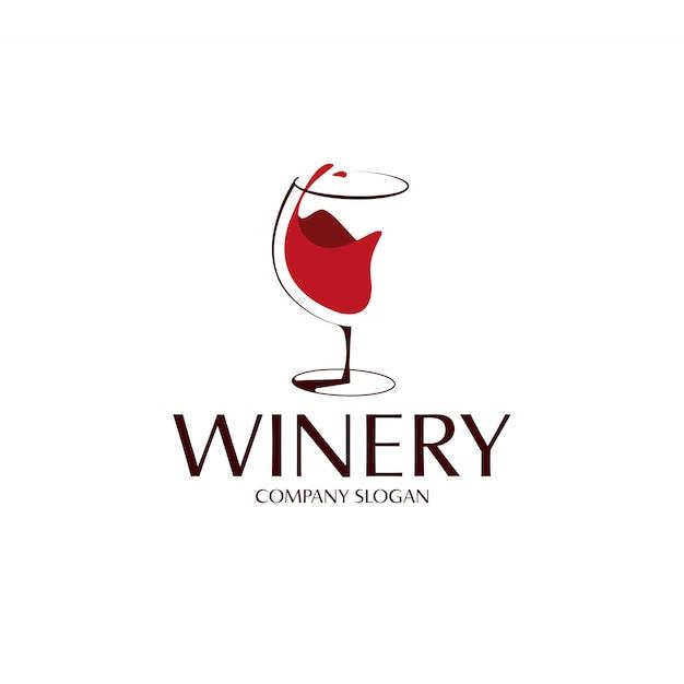 Logo Kieliszka Czerwonego Wina Premium Wektorów