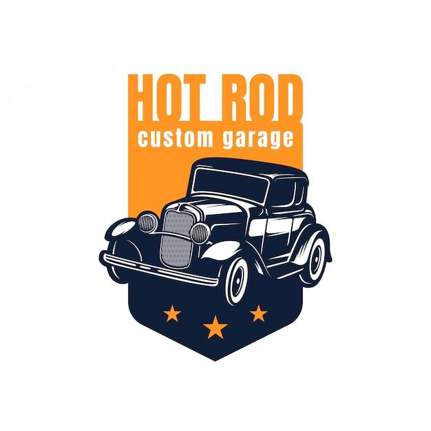 Logo Klasycznego Samochodu Hot Rod Premium Wektorów