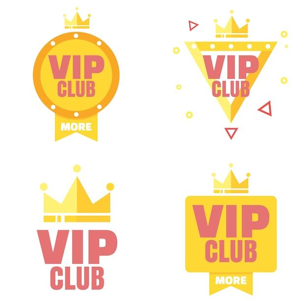 Logo Klubu Vip W Stylu Płaskiej Premium Wektorów