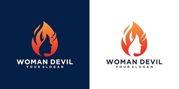 Logo Kobiety Diabła To Połączenie Kobiecej Twarzy I Ognia Premium Wektorów