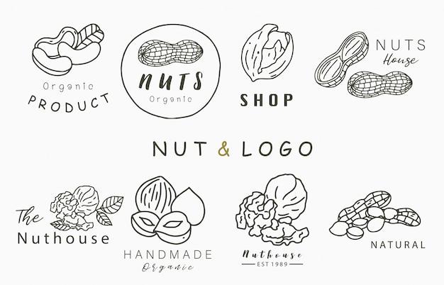 Logo Kolekcji Orzechów Z Orzecha Laskowego, Orzecha Włoskiego, Orzeszków Ziemnych. Ilustracja Wektorowa Ikony, Logo, Naklejki, Do Druku I Tatuaż Premium Wektorów