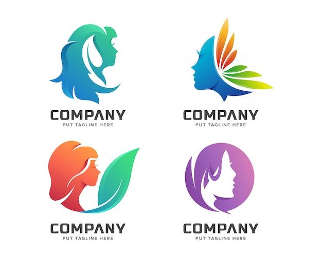 Logo kolorowe kobiece spa uroda Premium Wektorów