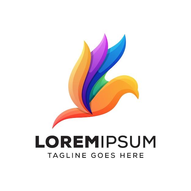 Logo Kolorowe Piękno Ptaków Premium Wektorów