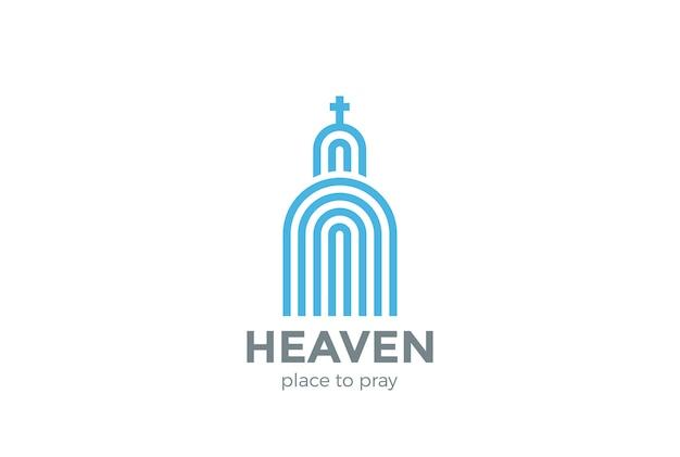 Logo Kościoła Logo Religii. Styl Liniowy Darmowych Wektorów