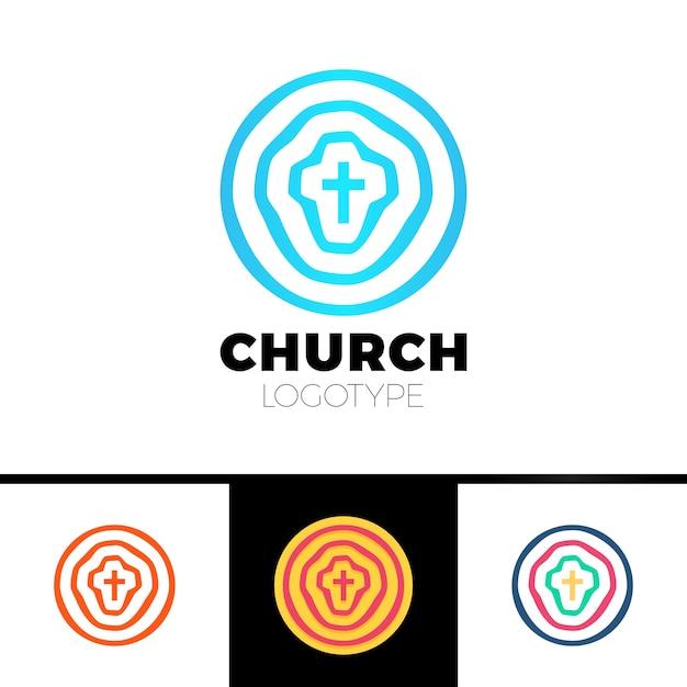 Logo Kościoła. Symbole Chrześcijańskie. Koła, Cel I Krzyż Jezusa. Premium Wektorów