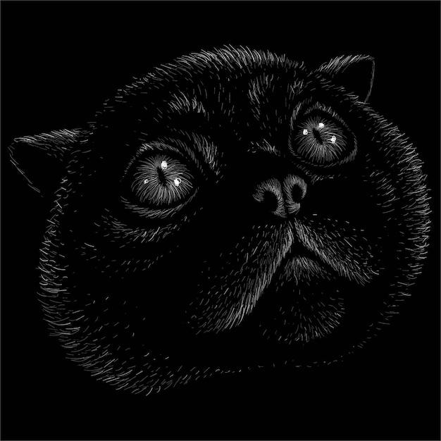 Logo Kota Do Projektowania Tatuażu Lub T-shirtów Lub Odzieży Wierzchniej. Ten Rysunek Byłby Fajny Do Wykonania Na Czarnej Tkaninie Lub Płótnie. Premium Wektorów