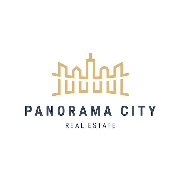 Logo Krajobrazu Panorama City Z Drapaczami Chmur. Architektura Budynków Ilustracja Kontur. Logotyp Mieszkania Nieruchomości Premium Wektorów