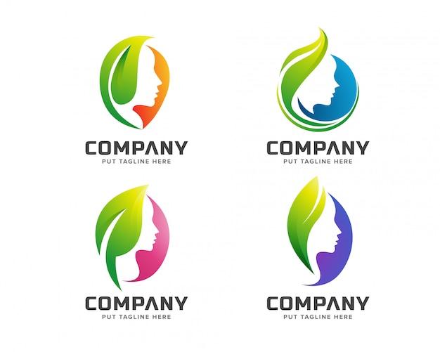 Logo kreatywnych piękna zielone spa Premium Wektorów