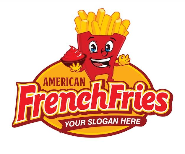 Logo kreskówka amerykańskie frytki fast food Premium Wektorów