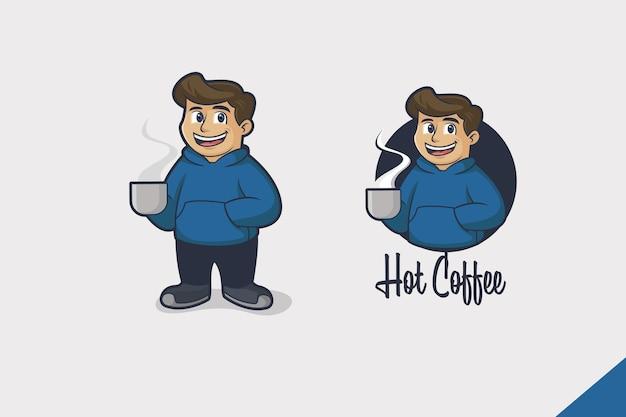 Logo Kreskówka Gorący Napój Premium Wektorów