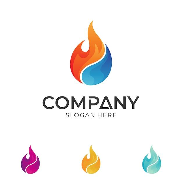 Logo Kropli Ognia I Wody Premium Wektorów