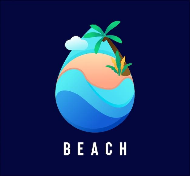 Logo kropli wody na plaży w stylu płaski Premium Wektorów