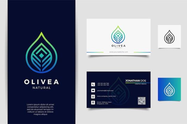 Logo Kropli Wody / Oliwy Z Oliwek I Projekt Wizytówki Premium Wektorów