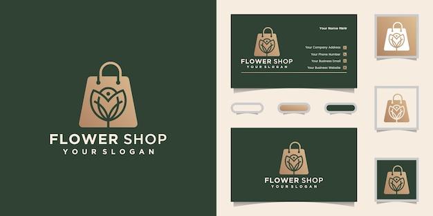 Logo Kwiaciarni I Wizytówki Premium Wektorów