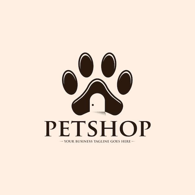 Logo łapa sklepu zoologicznego Premium Wektorów