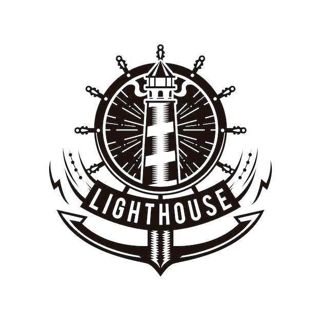 Logo latarni morskiej Premium Wektorów