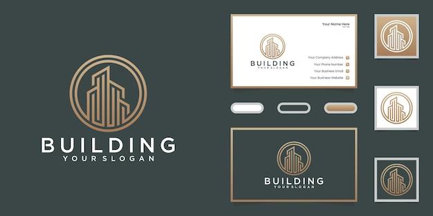 Logo Linii Budynku Z Szablonem Projektu Koła I Wizytówką Premium Wektorów