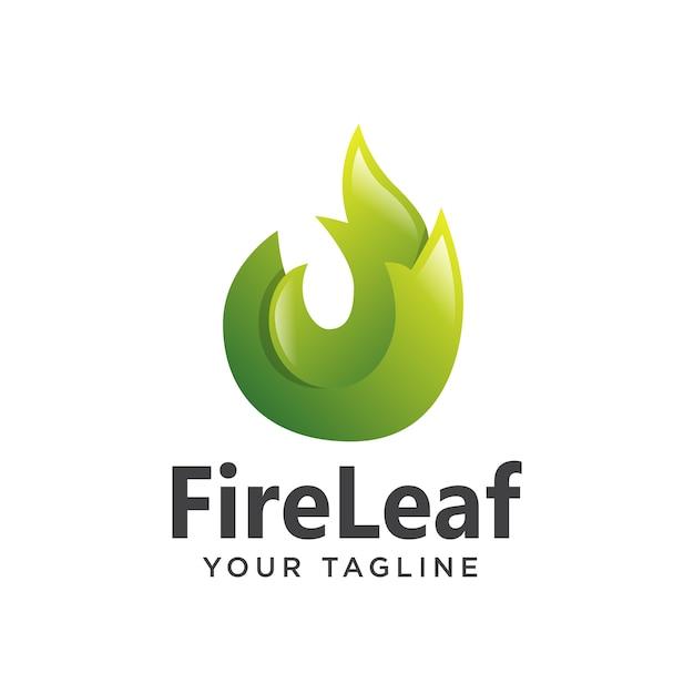 Logo liść ognia gradient 3d nowoczesny Premium Wektorów