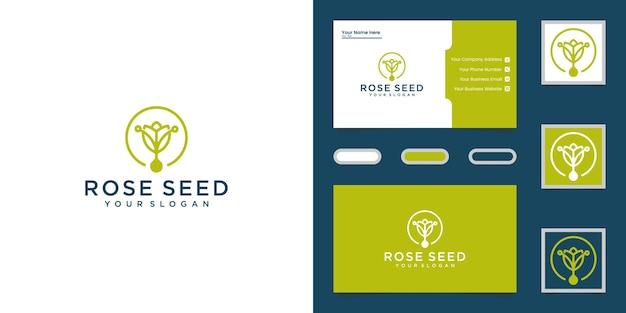 Logo Liści I Kwiatów Zielonych Nasion I Wizytówki Premium Wektorów