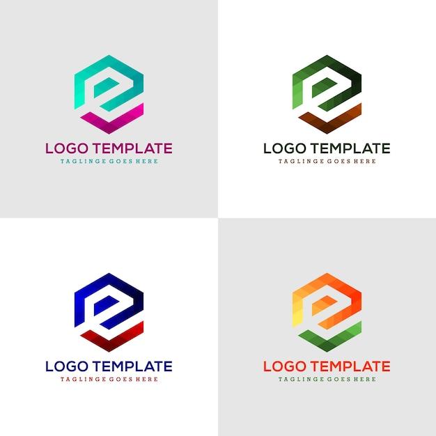Logo litera e sześciokątne wstążki linii logo, ikona, symbol Premium Wektorów