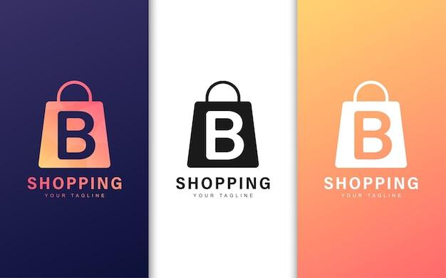 Logo Litery B W Torbie Na Zakupy Z Nowoczesną Koncepcją Premium Wektorów