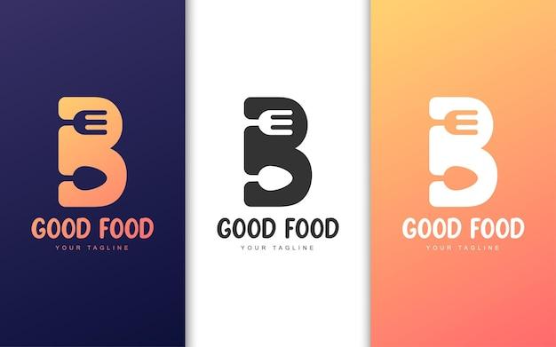 Logo Litery B Z Koncepcją Restauracji. Koncepcja Logo Prostej żywności Premium Wektorów