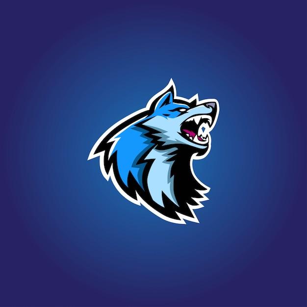 Logo logo niebieski wilk esport Premium Wektorów