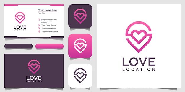 Logo Lokalizacji Kreatywnej Miłości Z Markerem Serca I Mapy. Projekt Szablonu I Wizytówki Premium Wektorów