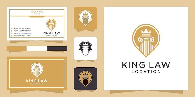 Logo Lokalizacji Króla Prawa I Wizytówka Premium Wektorów