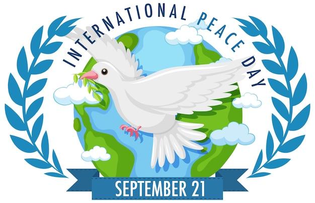 Logo Lub Baner Międzynarodowego Dnia Pokoju Z Białą Gołębicą Na świecie I Gałązkami Oliwnymi Premium Wektorów