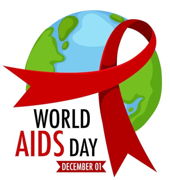 Logo Lub Baner światowego Dnia Aids Z Czerwoną Wstążką Na Ziemi Premium Wektorów