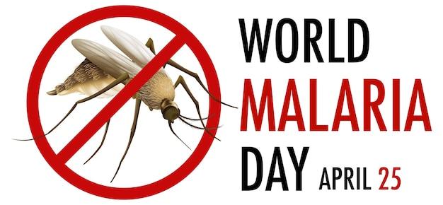 Logo Lub Baner światowego Dnia Malarii Ze Znakiem Komara Darmowych Wektorów