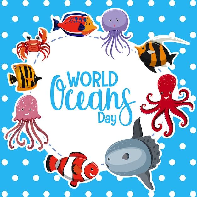 Logo Lub Baner światowego Dnia Oceanów Z Różnymi Zwierzętami Morskimi Premium Wektorów