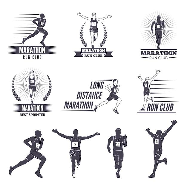 Logo lub etykiety dla biegaczy. Premium Wektorów