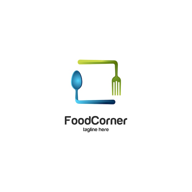 Logo łyżki narożnej i widelca Premium Wektorów
