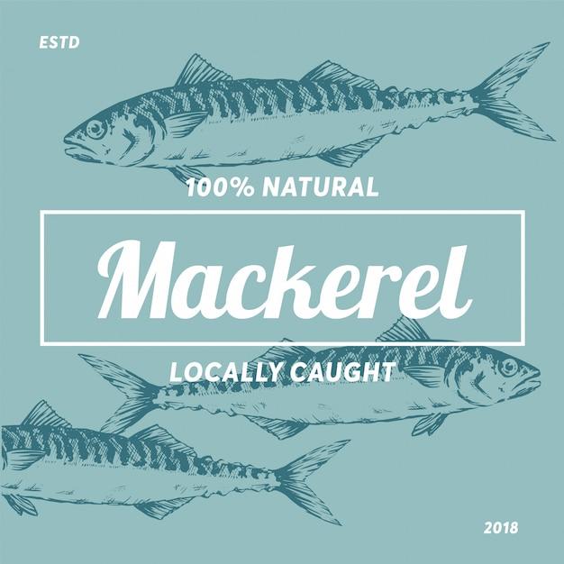 Logo Makrela Sylwetka Owoce Morza Sklep Etykiety Premium Wektorów