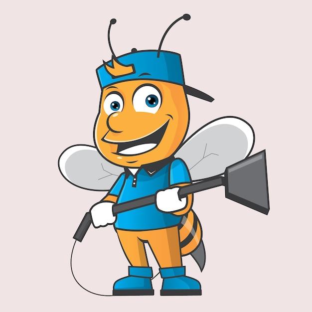 Logo Maskotka Czyszczenia Pszczół Premium Wektorów