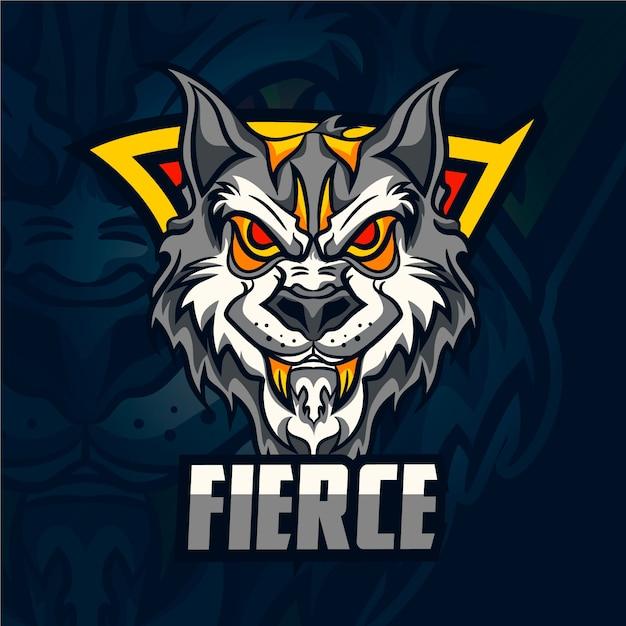 Logo Maskotka Dzikiego Wilka Darmowych Wektorów