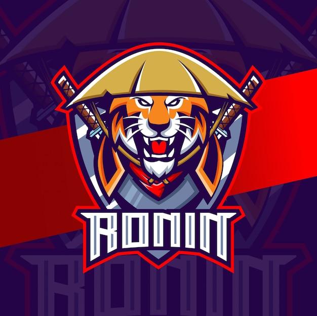 Logo Maskotka Esport Tygrys Ronin Premium Wektorów
