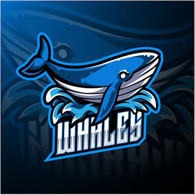 Logo maskotka esport wieloryba Premium Wektorów