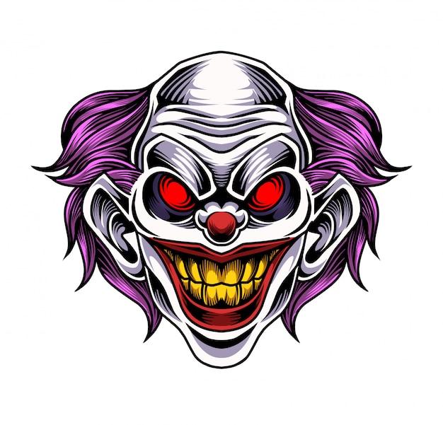 Logo Maskotka Głowa Klauna Premium Wektorów