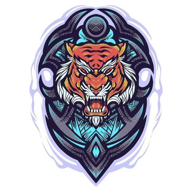 Logo Maskotka Głowa Tygrysa Premium Wektorów