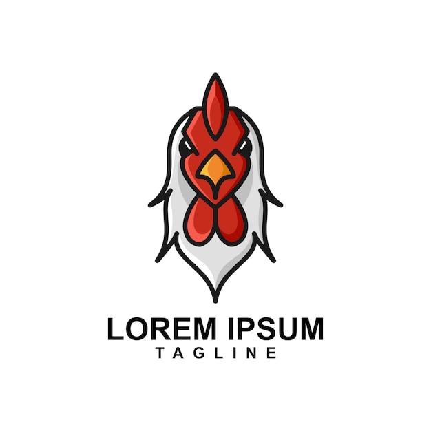 Logo Maskotka Głowy Koguta Premium Wektorów