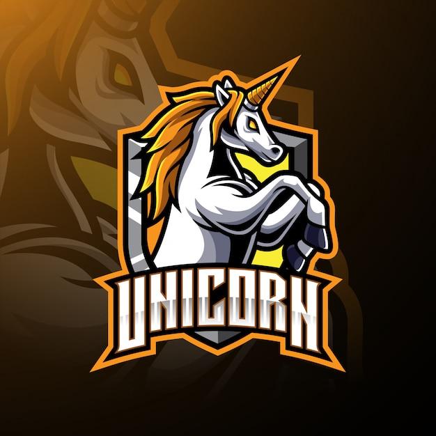Logo maskotka skaczący jednorożec Premium Wektorów