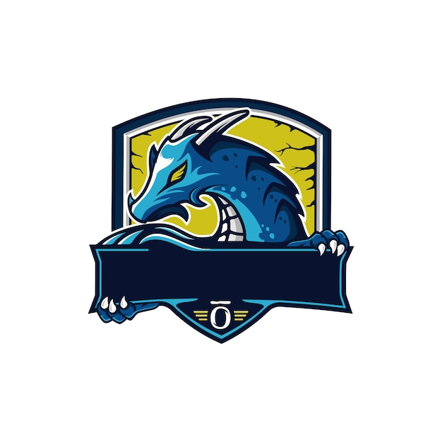 Logo maskotka smoka Premium Wektorów