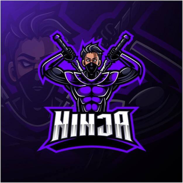 Logo maskotka sportowa ninja Premium Wektorów
