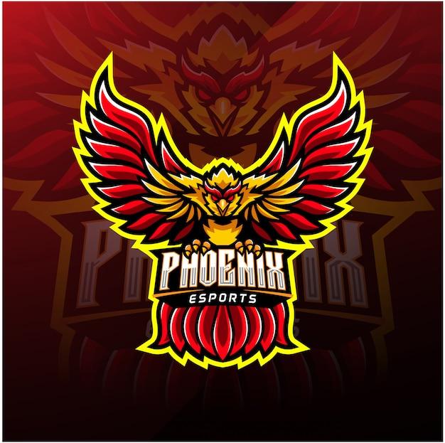 Logo Maskotka Sportowa Phoenix Premium Wektorów